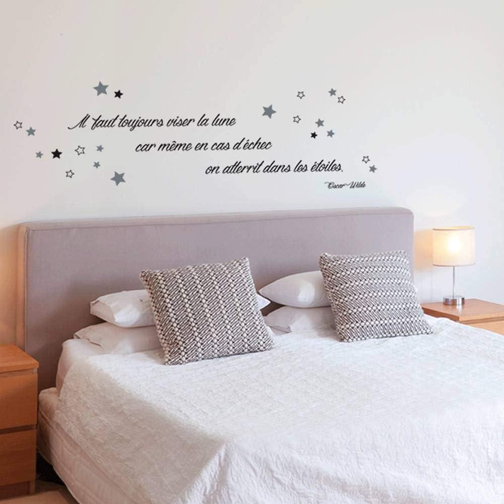 Les Tr/ésors De Lily - 50x70 cm Q3155 - Planche de Stickers Citations Il Faut Toujours viser la Lune Car m/ême en Cas d/échec, on atterit dans Les /étoiles - Oscar Wilde