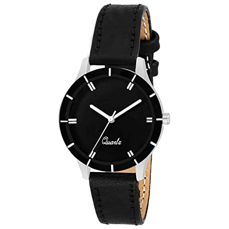 VeBNoR Analogue Classic Full Black Dial Black Leather Strap Ladies Wrist Watch for Girls and Women Stylish Latest G-605
