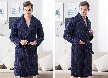 Ropa de dormir Pijamas de los hombres tres gruesas de punto algodón Bata Bata niños chaqueta