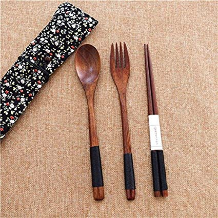 JEWH [3pcs] Japan Style Dinnerware Fork Kit - Wooden Long-handled Coffee Dessert