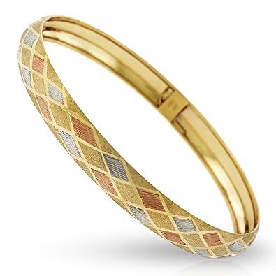 Amazon Com 10k Gold Womens Fancy Tri Color Diamond Cut Stripe