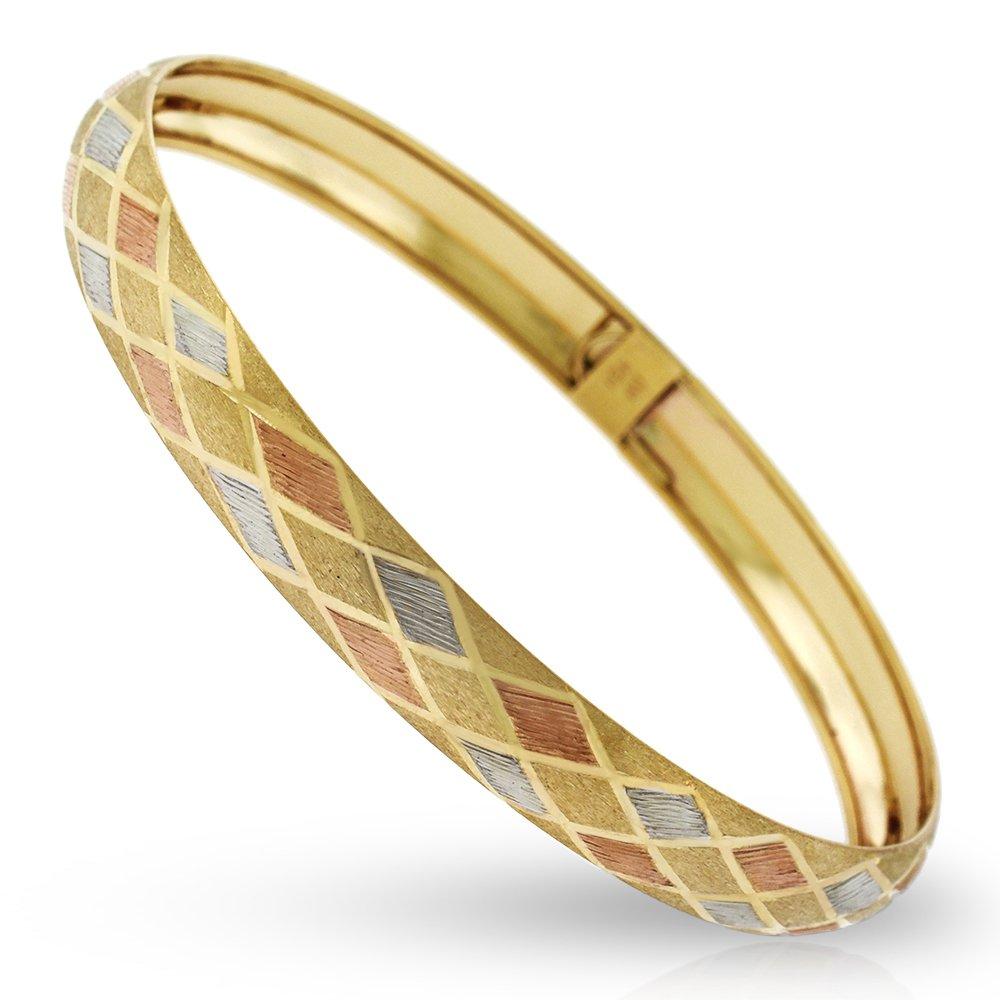 10k Yellow Gold Womens Tri Color Fancy Diamond Cut Brush Bangle Bracelet 7''