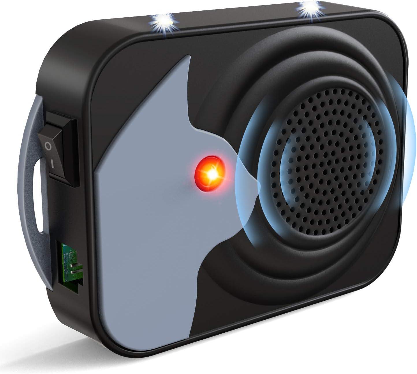 Ultrasonic Pest Repeller, Electronic Mouse Repellent, Under Hood Animal Repeller, Mice Control Devices Rodent Deterrent Defense Rat Marten with LED Strobe Lights for Car Engine (Black)
