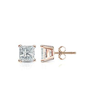 f4e7f3958 Amazon.com: 14k Rose Gold Princess-Cut Diamond Stud Earrings 4-Prong ...