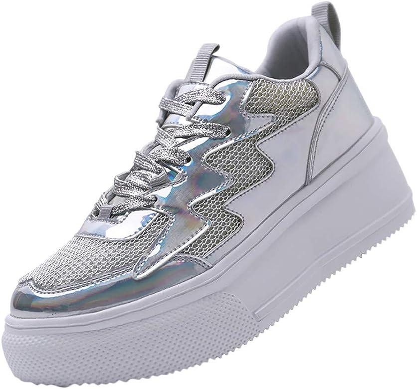 Qimanzi - Zapatillas de Mujer para el Tiempo Libre, Plataforma con Plantilla elevada, Malla Transpirable, Zapatillas para Correr, Antideslizantes, Color Rosa, Talla 38 EU: Amazon.es: Zapatos y complementos
