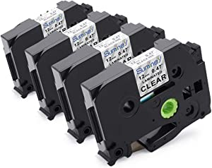"""Suminey Compatible Label Tape Replacement for Brother TZe-131 Standard Laminated P-Touch Label Maker Tape 12mm 1/2"""" (0.47""""), Black on Clear, Water Resistant, for PT D210 H110 D600 1230PC 1280, 4-Pack"""