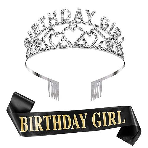 FANTASY Faja y tiara de cumpleaños para niña, Faja de ...