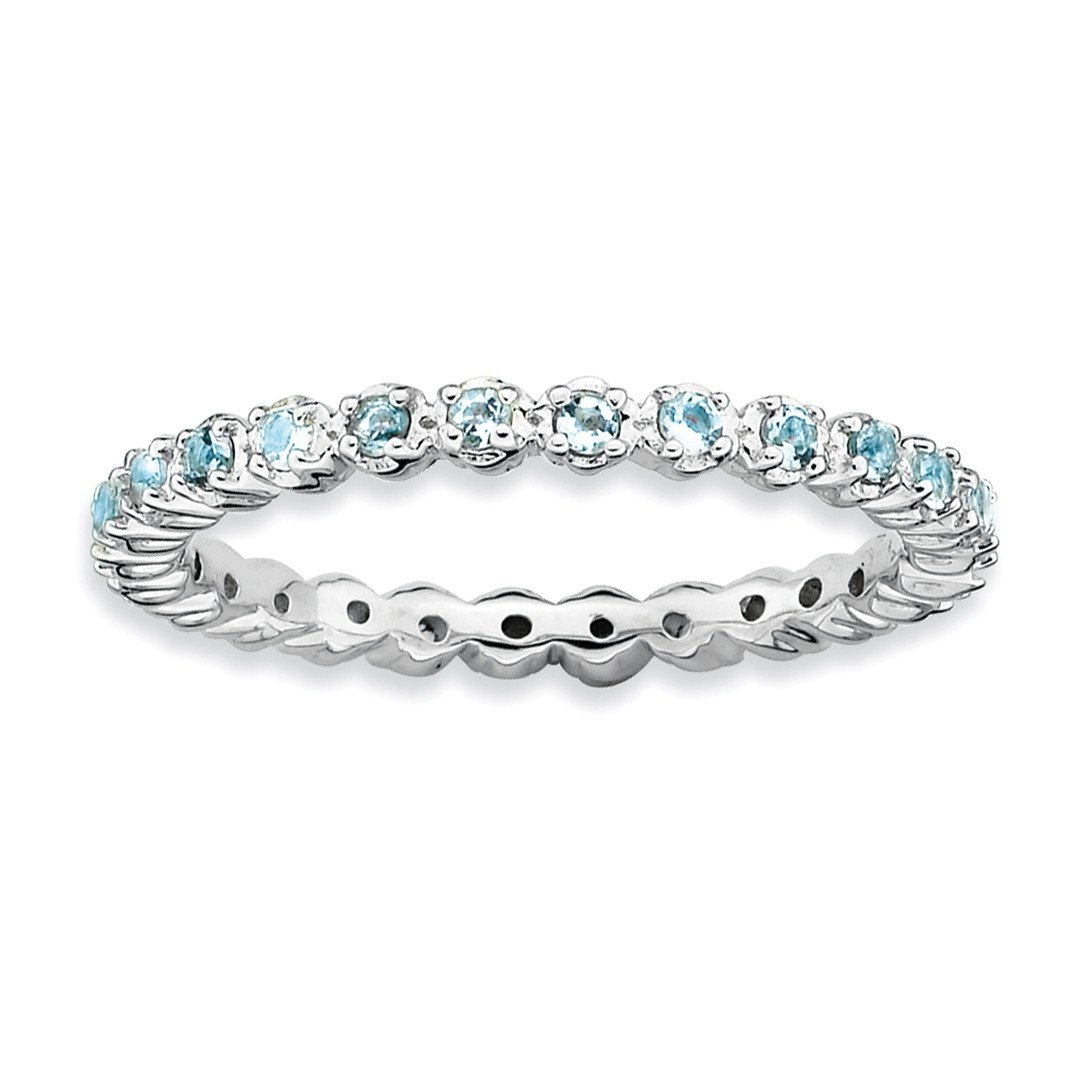 ICE CARATS 925 Sterling Silver Blue Aquamarine Band Ring Size 8.00 Stackable Gemstone Birthstone March Fine Jewelry Gift Set For Women Heart