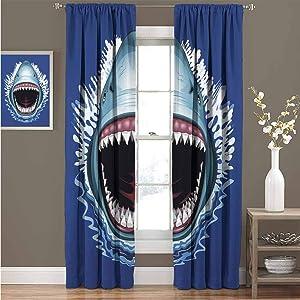 "KAKKSW Heat Insulation Curtain, Energy Efficient, Room Darkening, Shark, Attack of Open Mouth Sharp Teeth Sea Danger Wildlife Ocean Life Cartoon, 108""x108"", Royal Blue Teal"