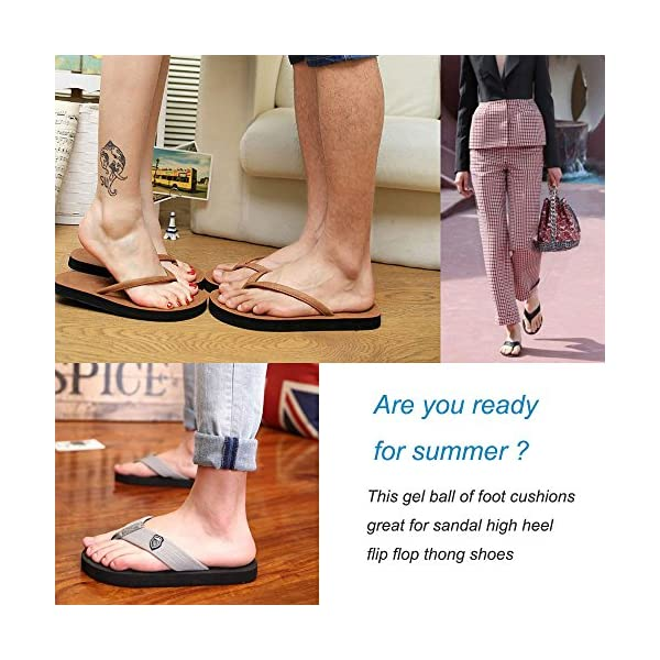 2402645fd29673 (3 Pairs) Gel Cushions for Flip Flop Thong Sandals – Forefoot Padding  Inserts