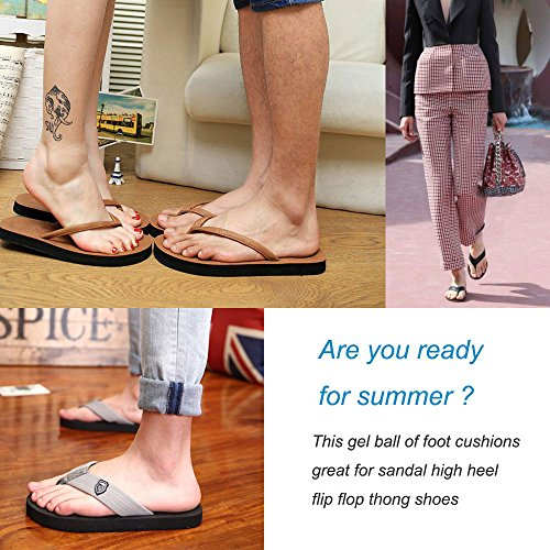 (2 Pairs)Gel Cushions For Flip Flop Sandals,Forefoot Padding Relief Pain Rub,Self Adhesive,No slip by AUTPRO (Image #6)