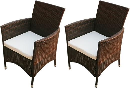 tiauant Mobiliario Mobiliario de Exterior Asientos de Exterior Sillas de Exterior Sillas de Jardin 2 Unidades Poli Ratan Marron Fundas para sillas de jardinAnchura del Asiento: 47 cm: Amazon.es: Jardín
