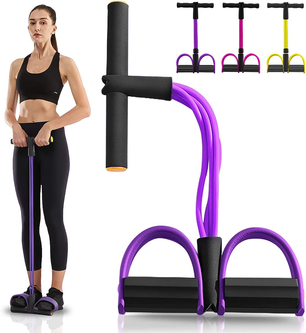 Pumoes Elastic Sit Up Pull Rope Fitness Equipment 4 Tubes Natural Latex Foot Pedal Yoga Exerciser Bodybuilding Expander for Home Gym Abdomen/Waist/Arm/Leg Stretch Slim Training