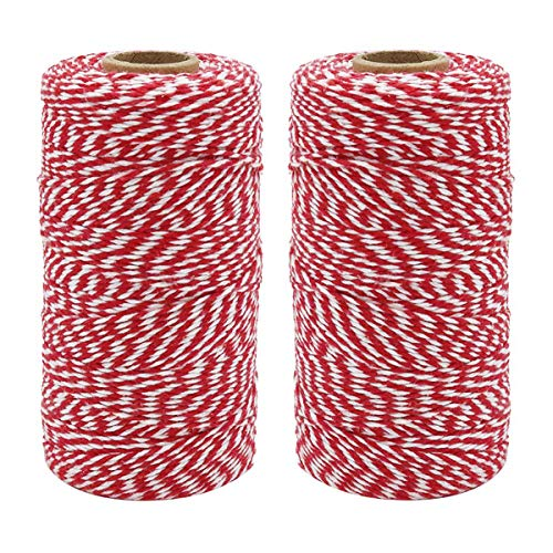 Natural Cotton Bakers Twine Red & White 200M (656 Feet), Packing String, Durable Rope for Gardening, Decoration, Tying Cake and Pastry Boxes, DIY Crafts & Gift Wrapping, for Art and ()