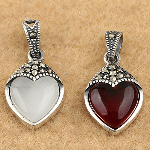 Marcasite Eyes Pendant - MFMei Thai Sterling Silver Marcasite Mixed Color Cat's eye Heart Pendant (CY105) (Red)