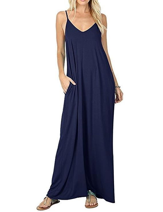 Bess Bridal Womens Summer Casual Maxi Dress Pockets Loose Plain Swing Dress at Amazon Womens Clothing store: