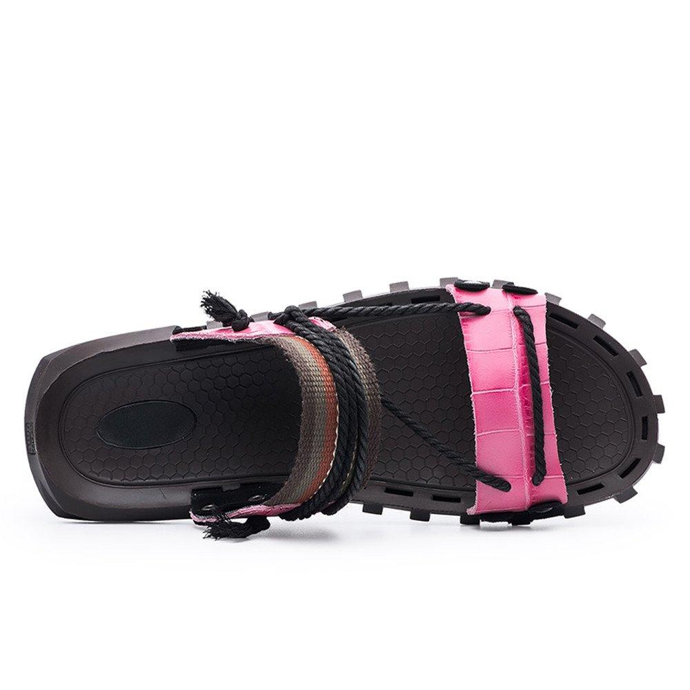 Echtes Leder Strand Hausschuhe Casual Hanfseil Schuhe rutschfeste weiche flache Sandalen Schuhe Hanfseil (Farbe : Schwarz, Größe : 11MUS) Rosa ba0980
