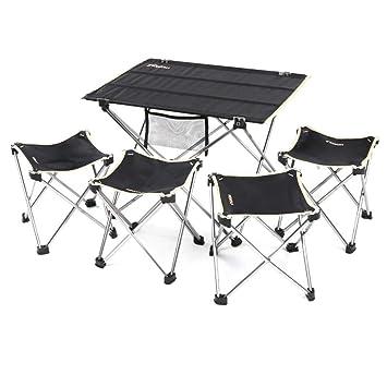 ALFYMX Alf Mesa y Silla de Camping 4 sillas Conjunto terraza ...