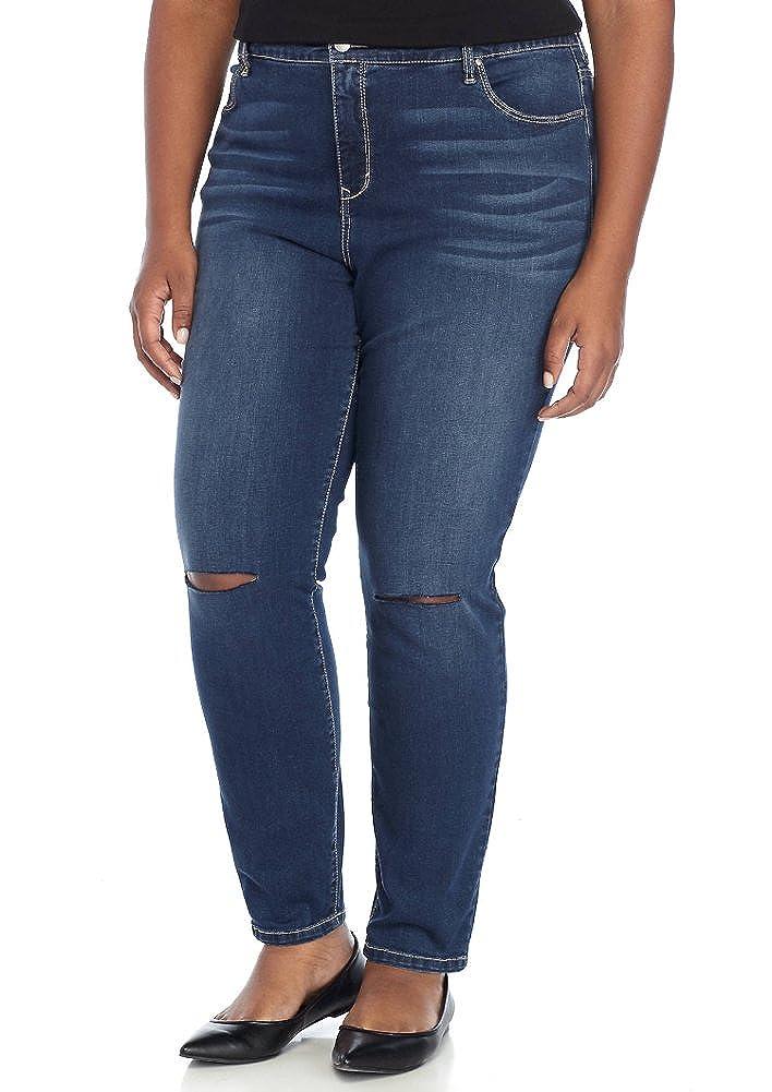 Kaari Blue Womens Plus Size 5-Pocket Knee Slit Denim Skinny Jean