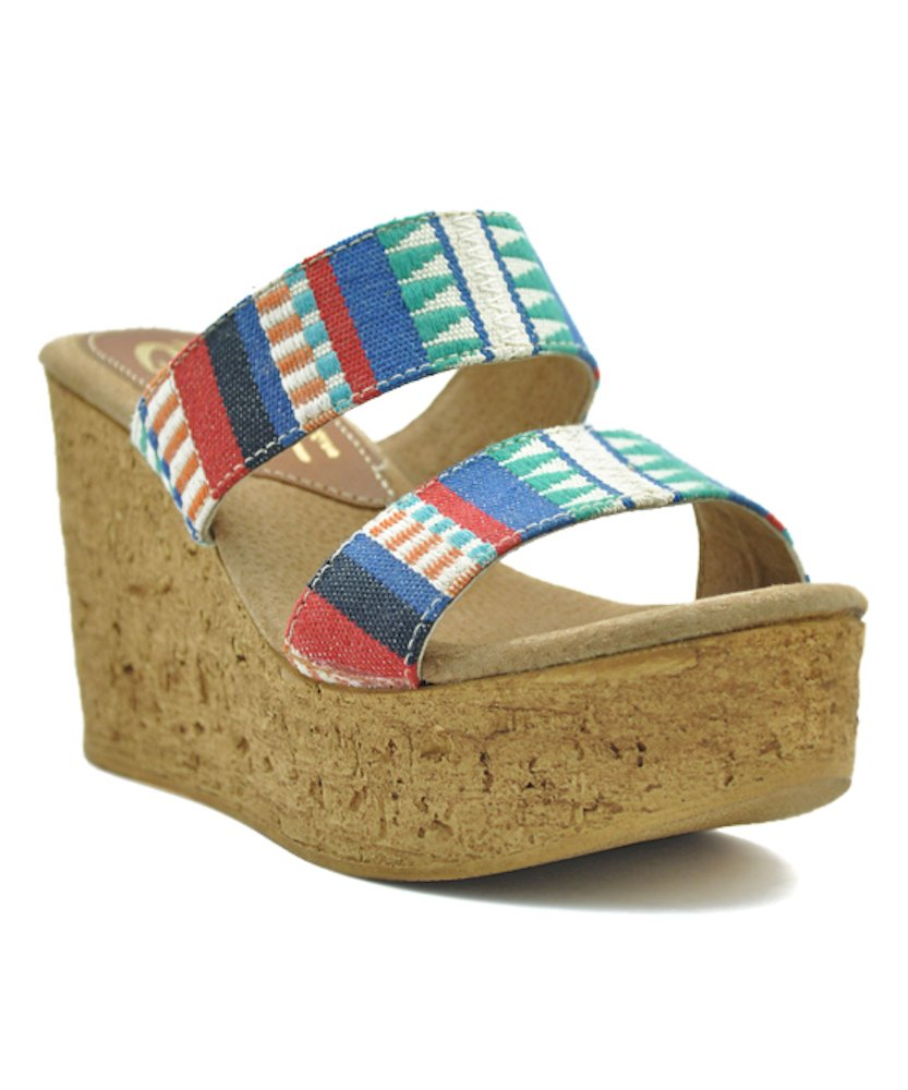 Sbicca Women's Keisha Wedge Sandal B0794927QR 6 B(M) US|Blue Multi