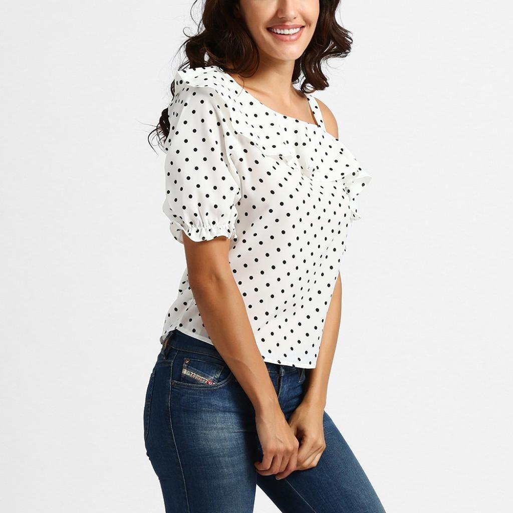 DOGZI Mujer Top Estampado De ChifóN Estampado Punto Blusa Lunares Mujer Blusa Sin Hombros Mujer Blusa Blanca Mujer: Amazon.es: Ropa y accesorios