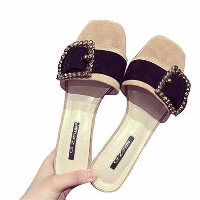 YUCH Kleidung Frauen Hausschuhe Flache Füße Rutschfeste Sandalen,Schwarz,35