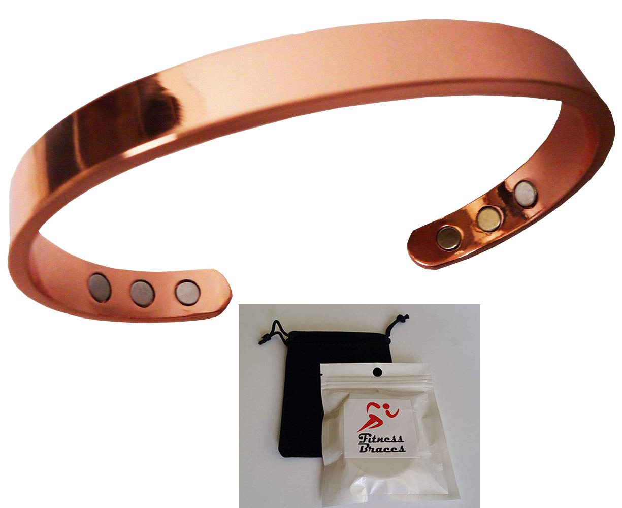 Pure Copper Magnetic Bracelet Arthritis Therapy Energy for Men and Women + Pouch