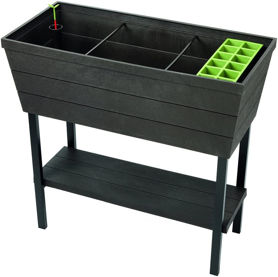 keter urban bloomer 12 7 gallon raised garden bed with self watering planter box and drainage plug dark grey