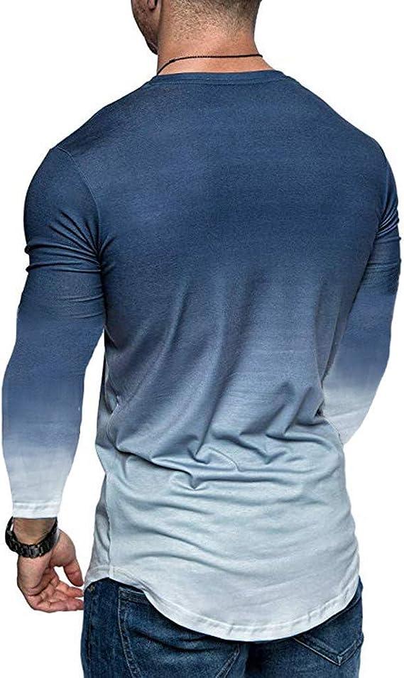 FRAUIT Maglietta A Maniche Lunghe Slim Fit Maglia Uomo Manica Lunga Cotone Leggero Maglie Palestra Pullover Ragazzo Girocollo Felpe Sportive Maglietta T-Shirt
