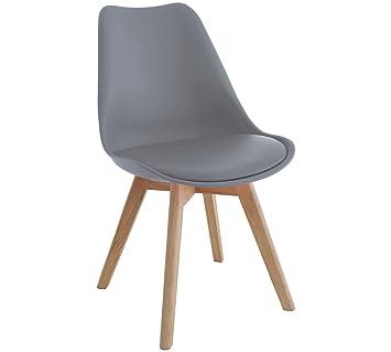 Elegant Zolta Moderne Retro Stuhl Design Esszimmer Wohnzimmer Weiß Stuhl Holz  80x50x49cm (Grau)