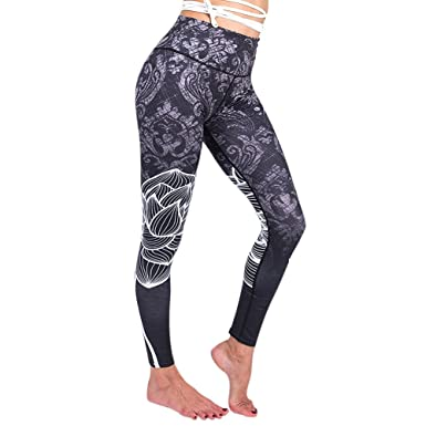 a6cea1b5809946 DoLoveY Women Stretch Leggings Running Yoga Pants Athletic Workout Tights  Sports Capris: Amazon.co.uk: Clothing