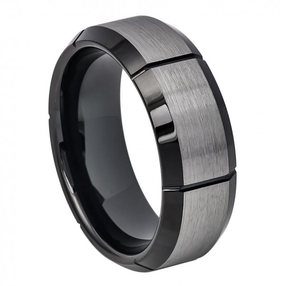 8mm Him or Her Tungsten Carbide Two Tone Black IP Brushed Center and Vetical Grooves Wedding Band Ring