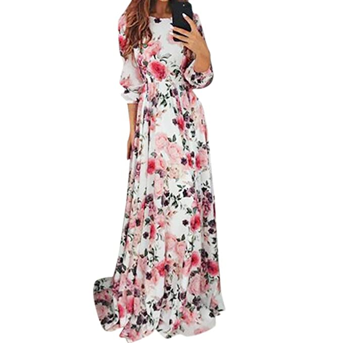 OverDose mujer De Manga Larga A-Line Floral Print Bohemia Zipper Party Evening Prom Swing