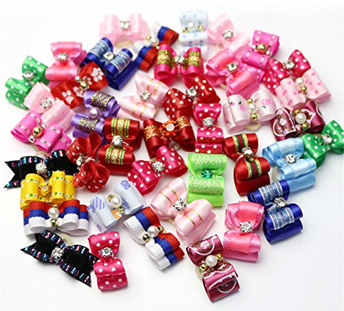 BleuMoo 10 Pcs 3D Small Puppy Pet Dog Rhinestone Hair Bow Rubber Bands Grooming