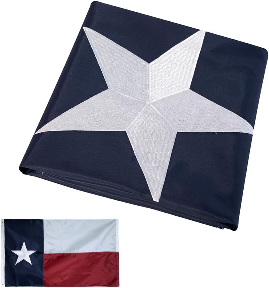 Texas Flags 3x5 Outdoor Embroidered - Texas Sate Flag 240D Nylon Oxford TX - Stars Sewn Stripes Two Brass Grommets