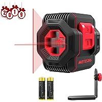 Niveau Laser Croix 15m, Meterk Commutable Auto-Nivellement Laser Lignes/Laser Rouge Horizontal et Verticale/360 Degrés de Rotation avec Support Magntique et Batterie Incluse