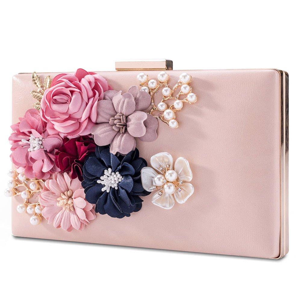 LONGBLE Women Evenig Bag Clutch Flowers Prom Wedding Purse Handbag Party Bags (Pink)
