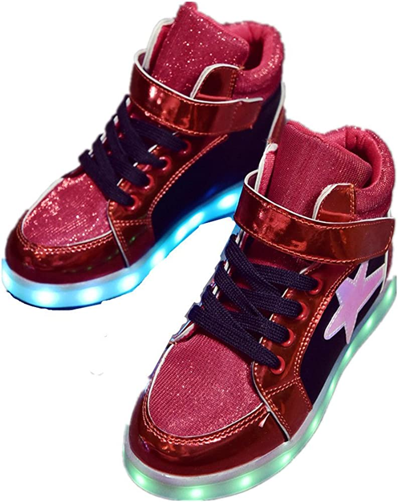 edv0d2v266 11 Colors LED Light Up Shoes High/Top USB Flashing Sneakers for Kids Boys Girls