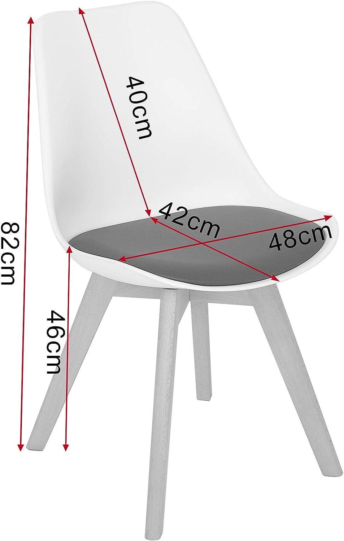 color blanco y amarillo con patas y respaldos de madera maciza para oficina comedor sillones DC19 cocina sal/ón eSituro Juego de 2 sillas de comedor para encimera de cocina