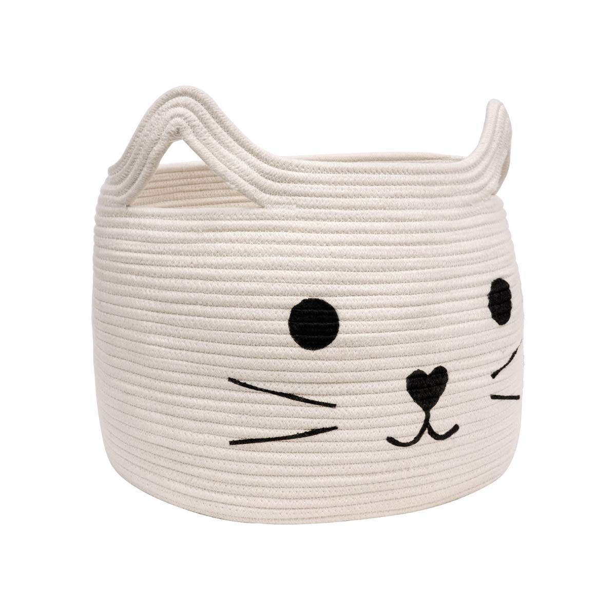 "HiChen Large Woven Cotton Rope Storage Basket, Laundry Basket Organizer for Towels, Blanket, Toys, Clothes, Gifts | Pet Gift Basket for Cat, Dog - 15.7"" L×13"" W×13.4"" H"