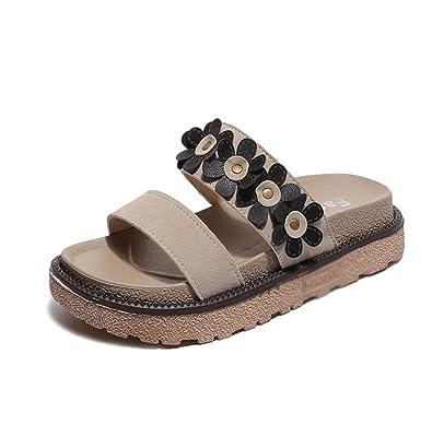 Frau Sommer Dicke Sohlen Pantoffeln,Blume-Flachboden Weiche Hausschuhe-A Fußlänge=23.3CM(9.2Inch)