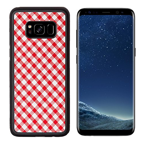 Liili Premium Samsung Galaxy S8 Aluminum Backplate Bumper Snap Case photo shot of checked fabric tablecloth texture Photo 7213432 Simple Snap (Check Drapery)