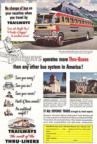 1951 Trailways: No Change of Bus, Trailways Print Ad Trailways Bus