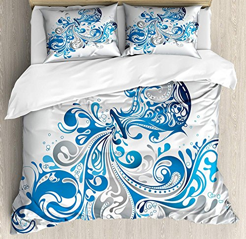 Anzona Queen Size Zodiac Aquarius 3 PCS Duvet Cover Set, Bucket with Ornamental Swirled Lines Artistic Scroll Horoscope, Bedding Set Bedspread for Children/Teens/Adults/Kids, Silver Grey Cobalt Blue