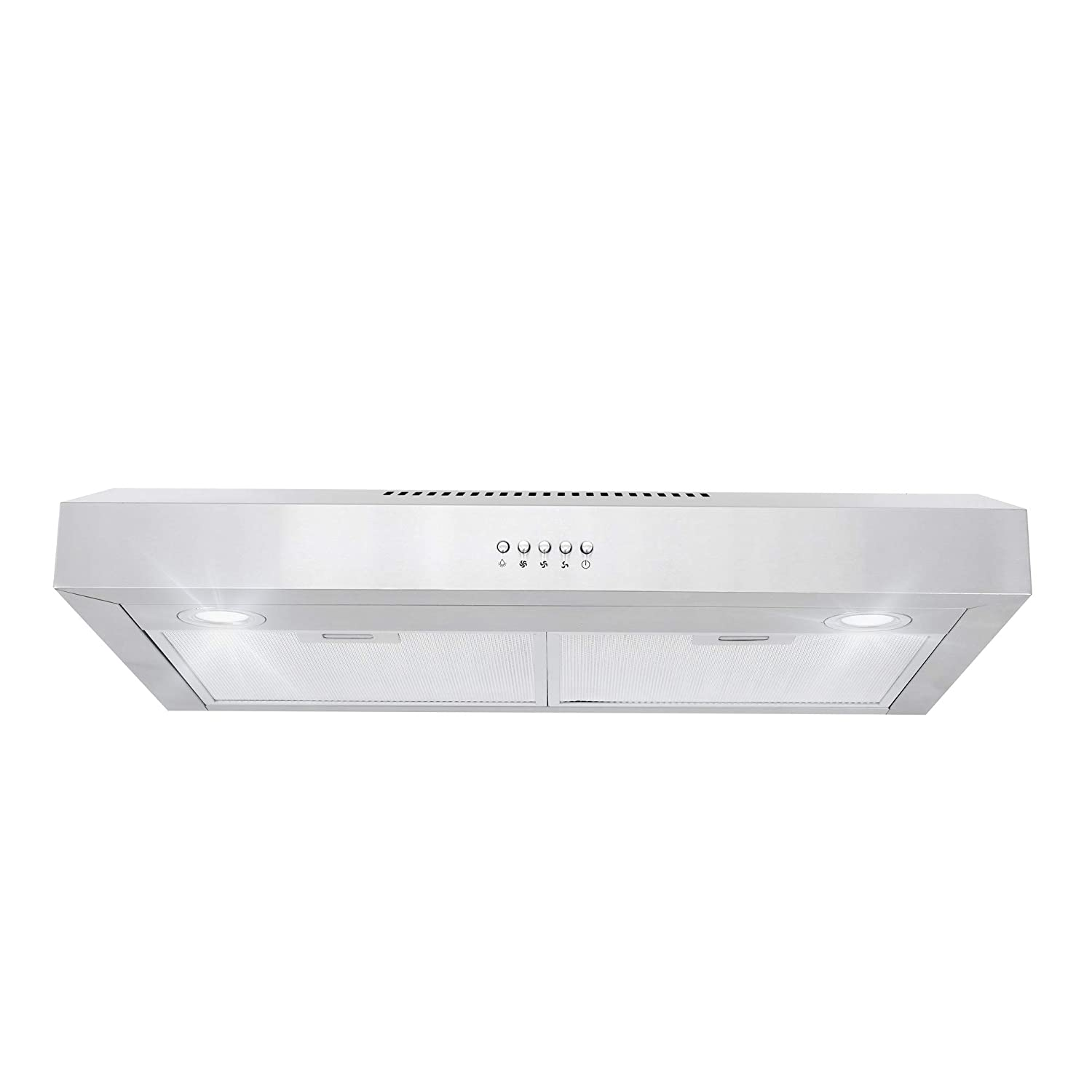 Cosmo 5U30 30-in Under-Cabinet Range Hood 250-CFM | Ducted / Ductless Convertible Top / Back Duct , Slim Kitchen Stove Vent , 3 Speed Exhaust Fan , Reusable Filter , with LED Light (Stainless Steel)