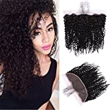 URALL Hair Brazilian Kinky Curly 13''x4'' Ear to Ear Lace Frontal Closure Unprocessed Virgin Human Hair Frontal with Baby Hair Natural Color (16inch)