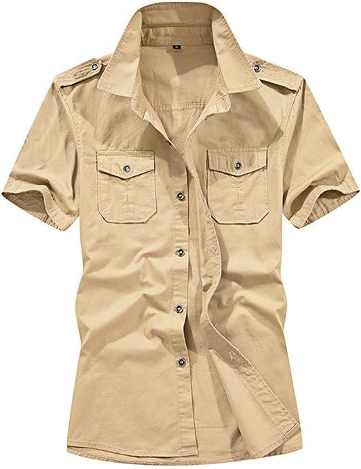 Camisa de Hombre, Internet_Camisa de Manga Corta de Solapa Militar de con Bolsillos de Color sólido para Hombres(Ejercito Verde/Azul Oscuro/Caqui M-5XL): Amazon.es: Ropa y accesorios
