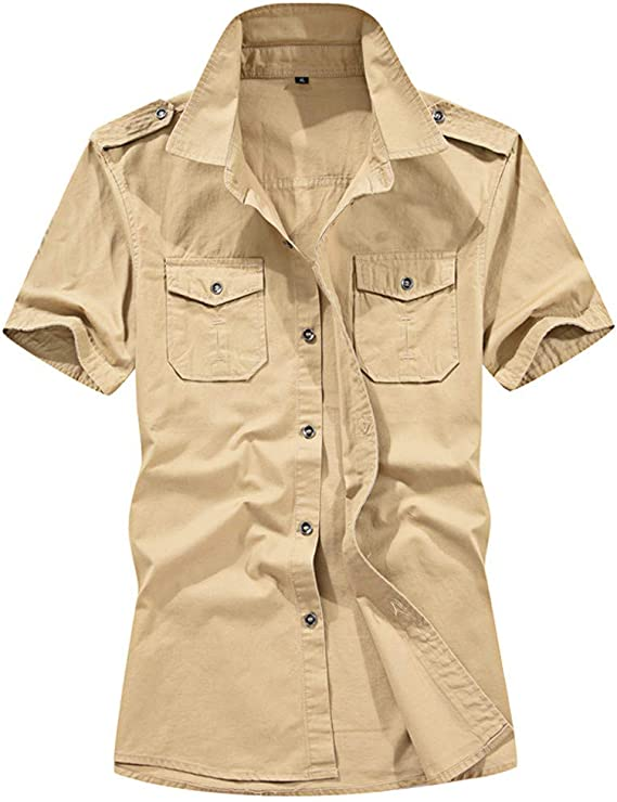 Mens Military Army Shirt Short Sleeve Tactical T-Shirt Cargo Button Down Top