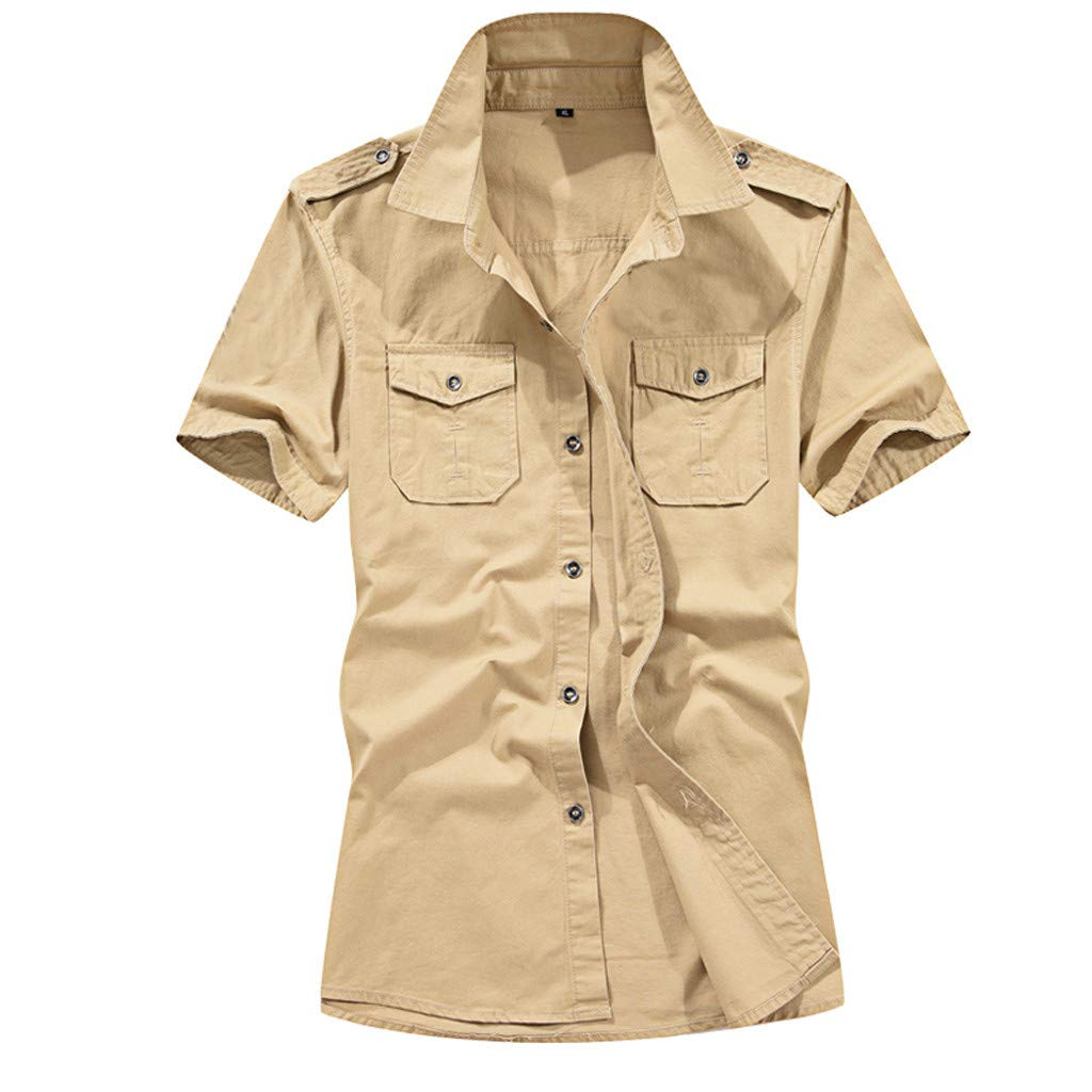 wodceeke Men's Soild Fashion Military Short-Sleeved Shirt with Pocket Lapel Button Tops