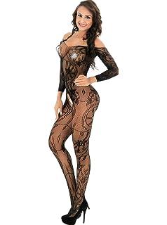 7e4c08bf95 Yuanlar Womens Fishnet Crotchless Bodystocking Long Sleeve Bodysuit  Nightwear